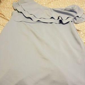 ASOS Curve Dresses - Asos Curve baby blue pastel ruffle off shoulder